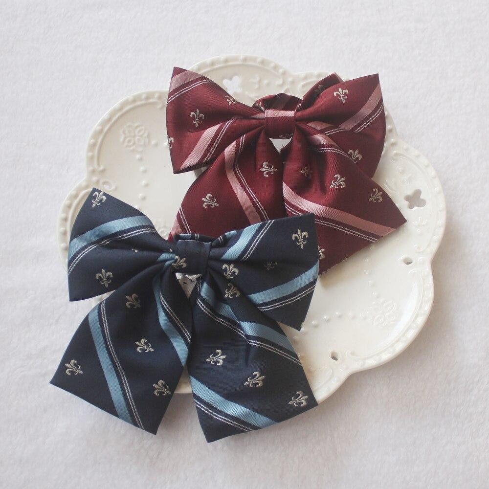 Brillant 7 Farben Blume Stickerei Gestreiften Adrette Britische Japanischen Schule Mädchen Jk Uniform Fliege Studenten Krawatte Cosplay