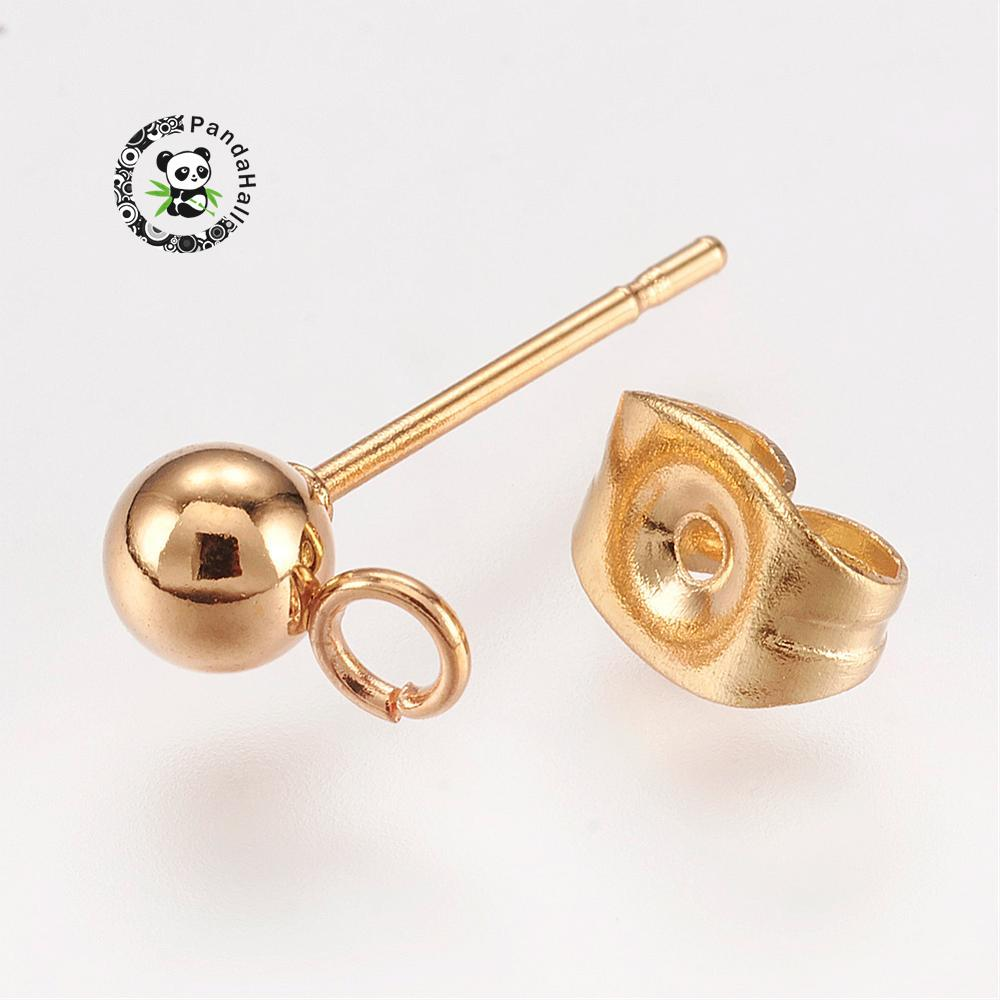 304 Stainless Steel Earstud Components, Golden, 7x4mm, Hole: 2mm; pin: 0.7mm