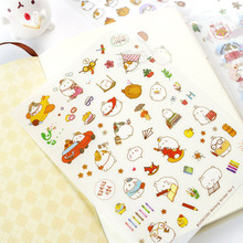 Y19 6 Sheets Kawaii Cute Molang Rabbit DIY Decorative Stickers Diary Phone Bottle Decor Stick Label Kids Gift