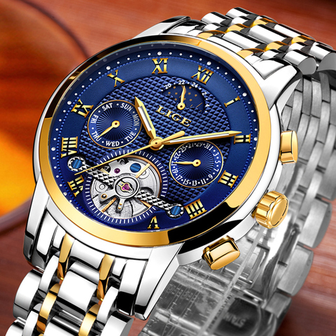 LIGE Top Brand Luxury Mens Watches Automatic Mechanical Watch Men Full Steel Business Waterproof Sport Watches Relogio Masculino Lahore