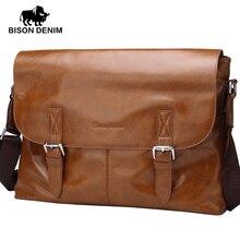 BISON DENIM 2016 Crossbody bags men leather genuine Vintage designer Buckle cover 14 inches large Messenger bags for men