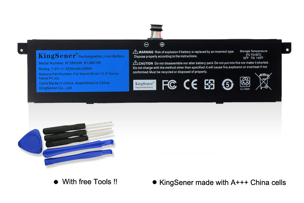 "Image 2 - Kingsener 7.6V 5230mAh New R13B01W R13B02W Laptop Battery For Xiaomi Mi Air 13.3"" Series Tablet PC 39WH-in Laptop Batteries from Computer & Office"