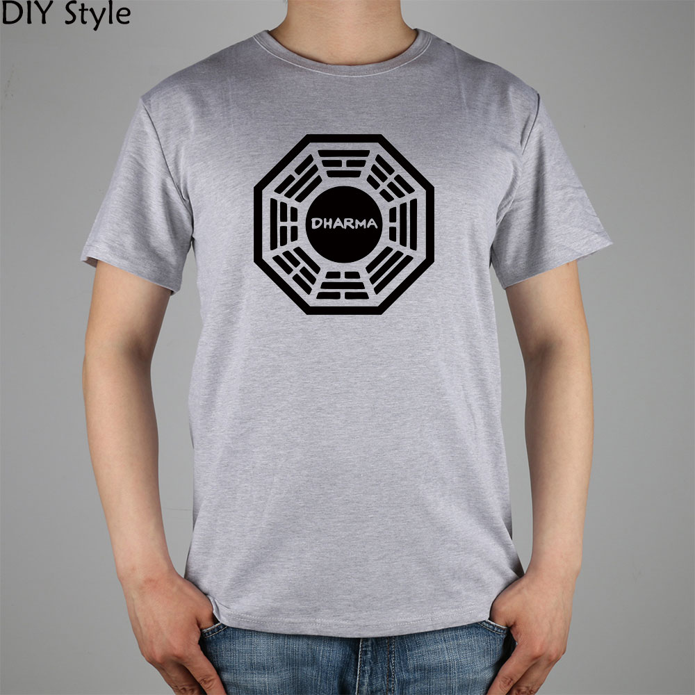 LOST Dharma Initiative classic American TV T-shirt Top Lycra Cotton Men T shirt New Desi ...