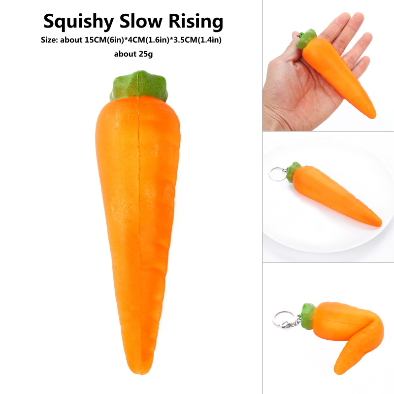 Kawaii PU Simulation Squish Food Kitchen Carrot Vegetable Model Props Slow Rebound Toys Stress Reliever Vent Squeeze Toys 15*4CM