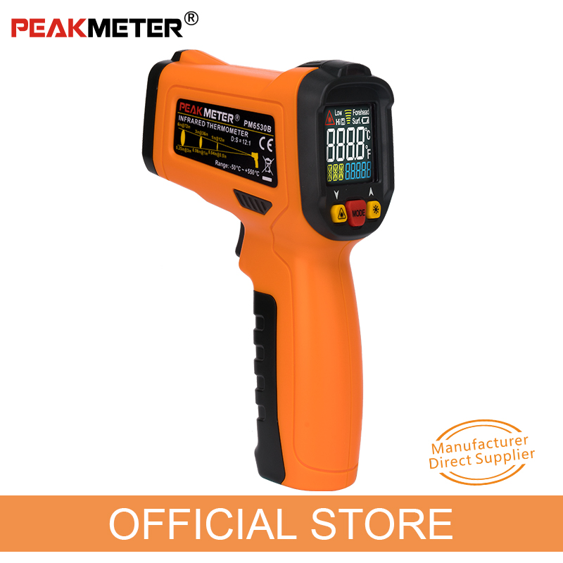 PEAKMETER PM6530B Laser LCD Digital IR Infrared Thermometer Temperature Meter Gun Point -50~550 Degree Non-Contact Thermometer an550 laser lcd digital ir infrared thermometer temperature meter gun 50 500c 58 1022f non contact temperature meter gun