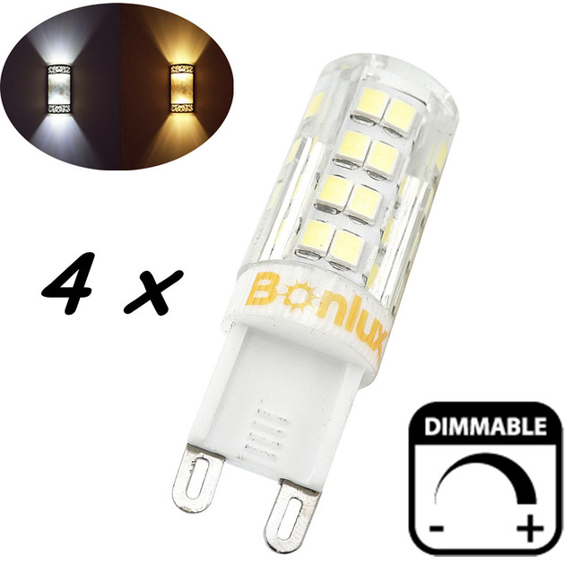 Led G9 Light Bulb Dimmable 4w Crystal Corn With 40 Watts Halogen