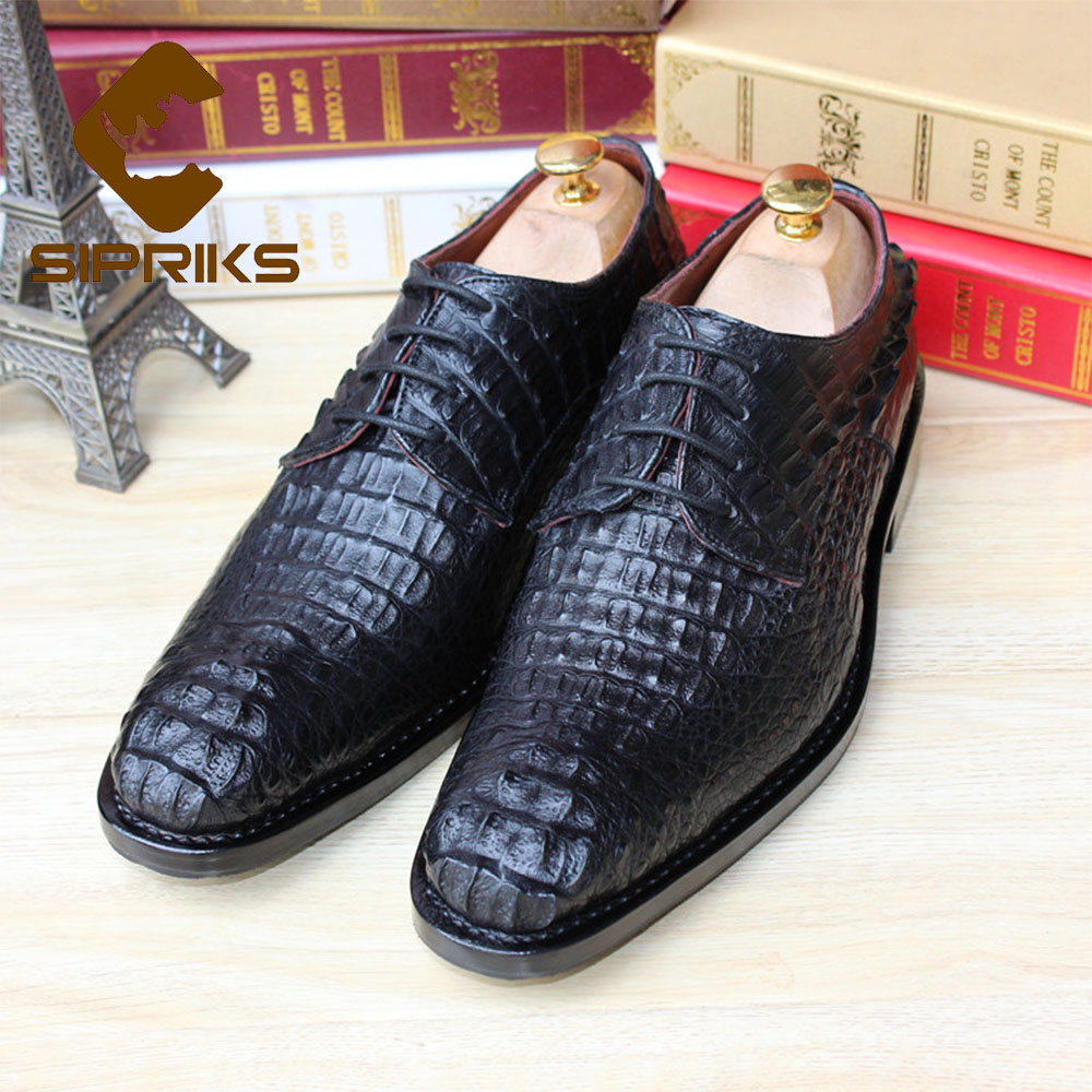 Sipriks Luxury mens goodyear alligator shoes black mens ...