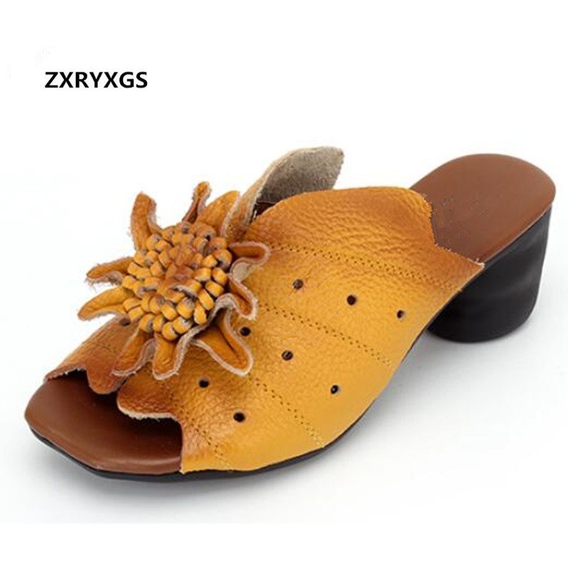 2019 Famous Cowhide Flowers Shoes Woman Fashion Slippers Sandals Comfortable Soft Summer Leather Slippers Women Shoes