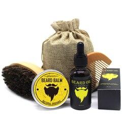 BellyLady 5 unids/set hombres bigote crema barba aceite Kit con bigote peine cepillo almacenamiento bolsa estilo barba conjunto