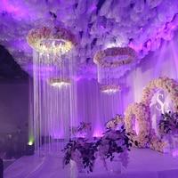 80cm Diameter by 3M Height tassel curtain Ceilling chandelier cover Roof Decoration Wedding Pillar 6pcs/lot