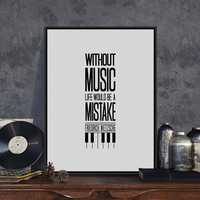 Minimalist Black White Motivational Typography Music Life Quotes A4 Art Print Poster Wall Picture Canvas Painting