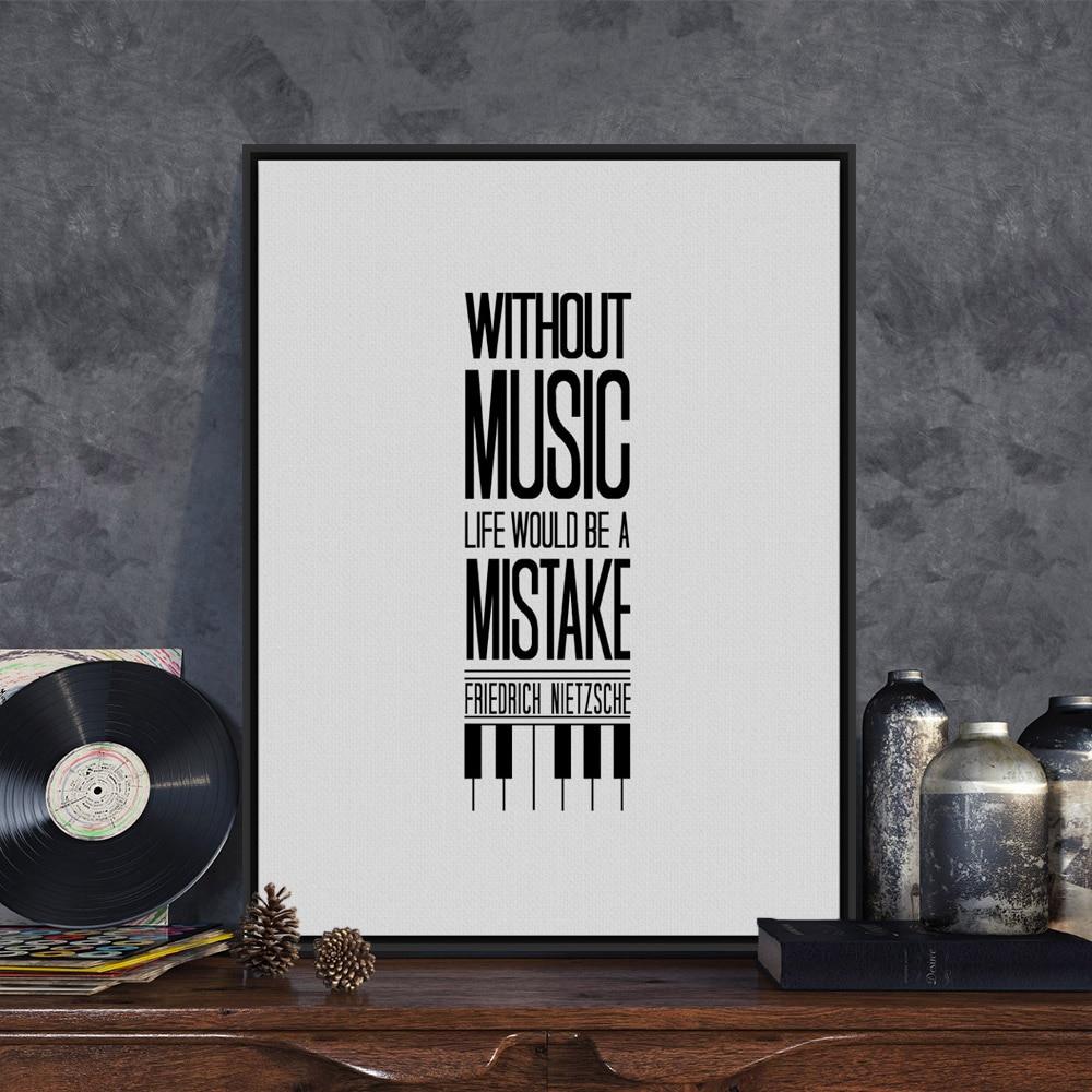 R 39 07 Tipografia Música Motivacional Citações De Vida Minimalista Preto E Branco A4 Cópia Da Arte Do Cartaz Do Retrato Da Parede Pintura Em Tela