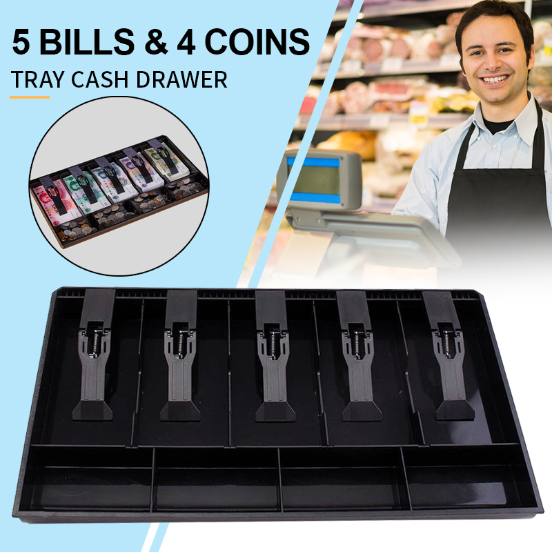 5 Bills 5 Grids 4 Coins Cash Drawer Insert Tray Cashier Drawer Box Store Cash Register Stylish Cash Drawer Register ABS Storage