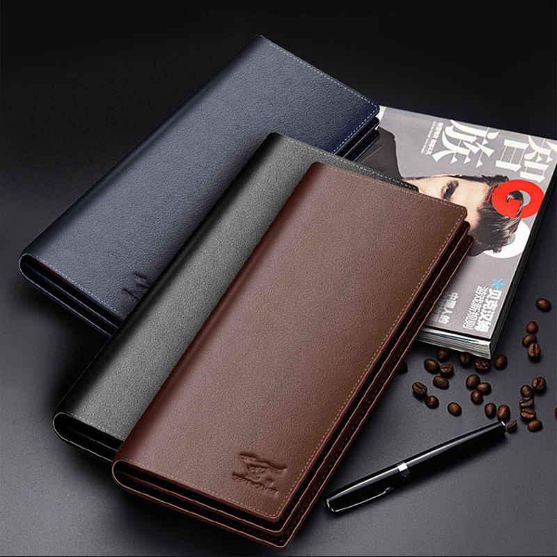 98642d01b922 Septwolves fashion brand men wallets genuine leather long business ...