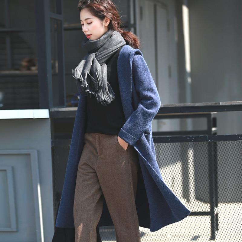 Printemps automne femmes nouveau littéraire lâche laine manteau femmes mince mince long tricot cardigan solide bleu chandail