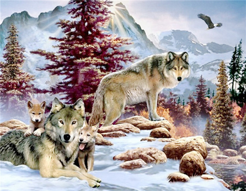 3d Diy Diamond Painting Crystal Animal Needlework Embroidery Wolves