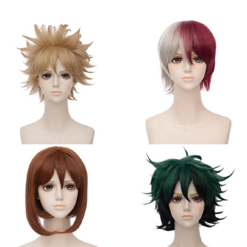 my hero cosplay boku  academia izuku no hero costume academia cosplay uraraka bakugou black wigs wig anime cosplay costumes