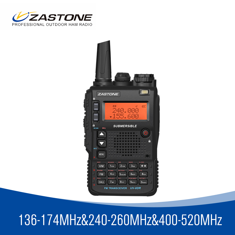 Zastone 8DR tri band 136-174/240-260/<font><b>400</b></font>-520 <font><b>mhz</b></font> portable walkie talkie 5W power ham radio 2350mah battery 2 antennas image