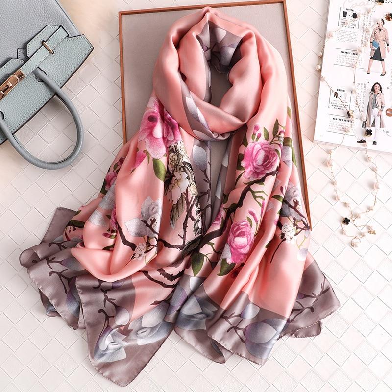 Elegance Magnolia Pattern Silk Scarf For Women 2019 New Fashion Long Pashmina Ladies Christmas Gift High Quality Winter Scarves