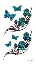 RC2303 Sexy Waist Shoulder Water Transfer Tattoo Decal Waterproof Temporary Tattoo Sticker Green Butterfly Flowers Fake Tattoo