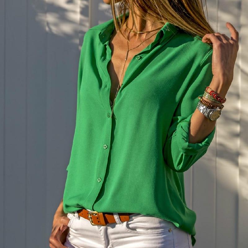 Spring Autumn   Blouses   Tops Women Summer   Shirts   Streetwear Office Long Sleeve Lapel   Blouse   Sexy V Neck Button Chiffon   Shirt   Blusa