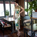 Vintage Qipao Dress Chinese Dress Peacock Floral Painted Blend Silk Cheong-sam Long Cheongsam Dress for Women