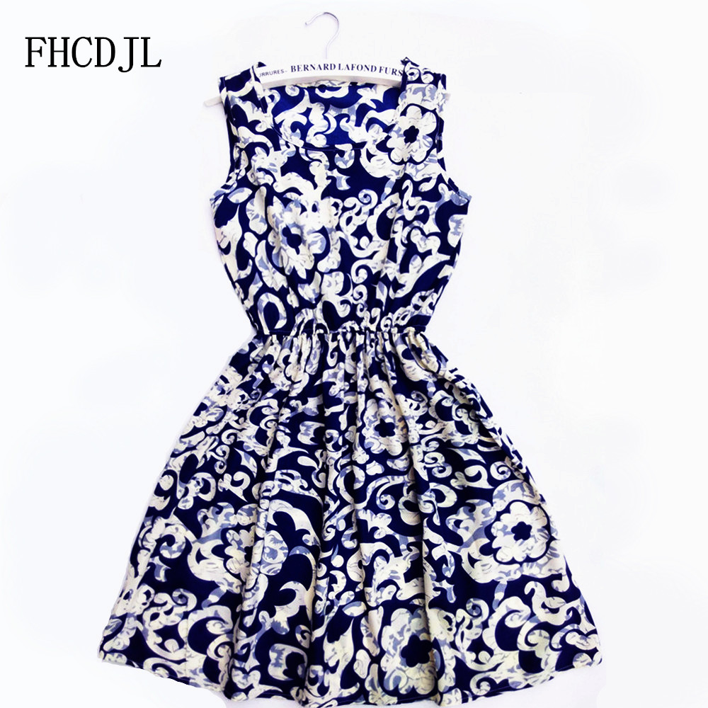 CDJLFH 2018 Summer Women dress Brand Casual Print Sleeveless Chiffon stripe floral print Elastic Waist Bohemian Beach Dresses
