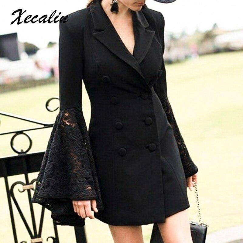 Xecalin Plus Size Flare Sleeve Lace Women Blazers Formal Dress V-Neck Black Blazer Coat 2019 Autumn Winter Coat Office Ladies
