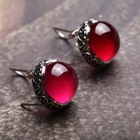 925 Sterling Silver retro red corundum ear clip round EARRINGS