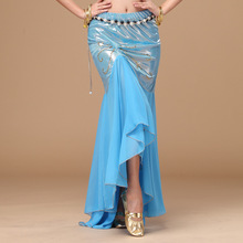 2016 New Belly Dancing Clothes Professional Long Fish Tail Skirts Side Split Women Wrapped Black Belly Dance Skirt