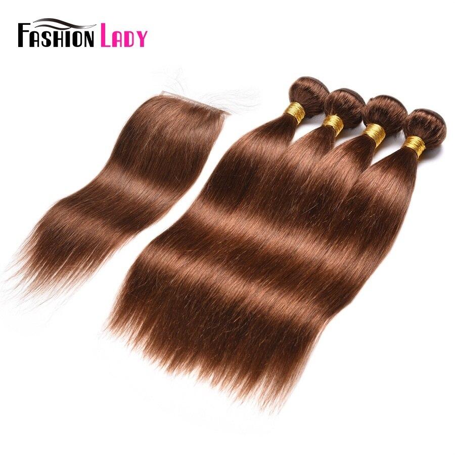 Модные женские предварительно Цветной человеческих волос, плетение Связки 4 шт. с закрытием кружева 4 # темно-коричневый Цвет волос Номера-Remy