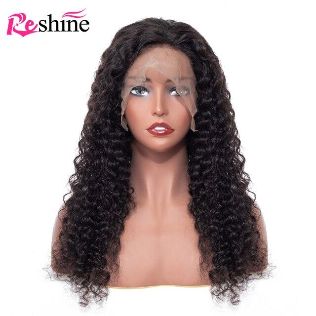 ONDA profunda peluca Frontal de encaje Pre arrancado con el pelo del bebé Natural Color Reshine Remy pelucas de cabello humano para las mujeres 10 -24 pulgadas
