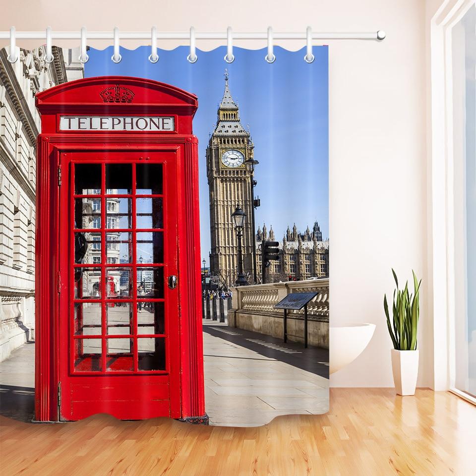 London Shower Curtain Telephone Booth Big Ben Print for Bathroom