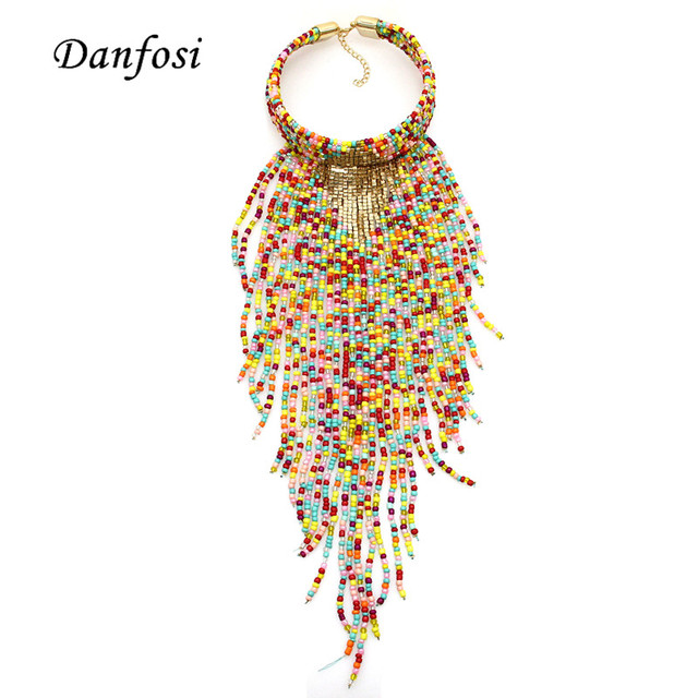 New Arrival Indian Jewelry  Long Tassel Resin  Beads Necklaces Collar Sexy For Dress Maxi Chokers Necklace Pendants N4188