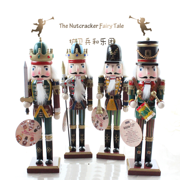 new 4pcs 1 set 30cm 38cm xmas christmas holiday nutcracker soldier vintage german wooden table walnut - Christmas Soldier