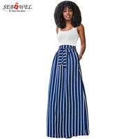 SEBOWEL 2017 Automne D'été Femmes Longue Jupe Chic Colorblock Rayé Maxi Jupes Plein-longueur Taille Haute Cravate Big Hem Vintage Jupe