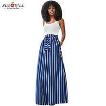 b23b191c4b Sebowel 2018 otoño verano mujeres Falda larga chic colorblock rayas Maxi  Faldas Full-longitud alta cintura lazo dobladillo grand.