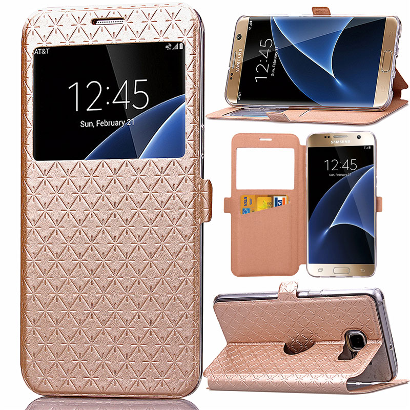 Luxury PU Leather Window View Card Slot Phone Case For