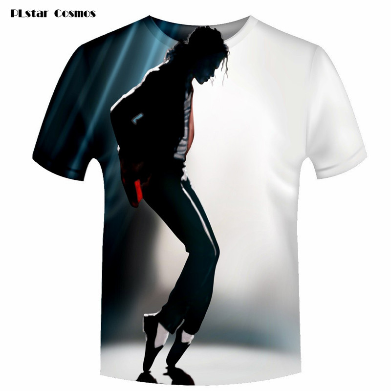 2018 Fashion Men/Women   T     shirt   Print Michael Jackson Dancing Moonwalk 3D   T  -  Shirt   Unisex Short Sleeve   Shirts   Rock tshirt Tops 5XL