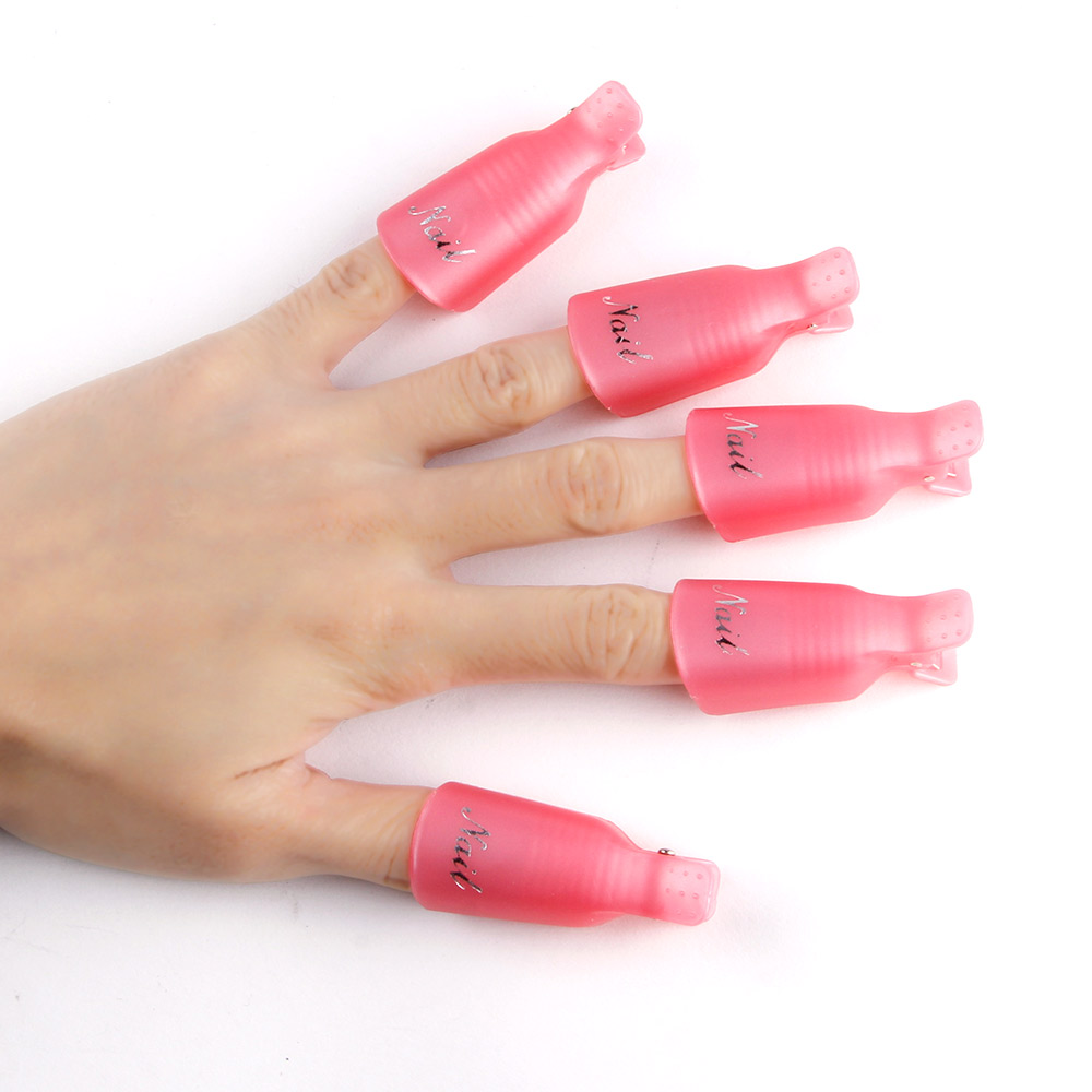 Image 4 - 10PCS Plastic Nail Art Soak Off Cap Clip UV Gel Polish Remover Wrap Tool Nail Art Tips for Fingers Nail Polish Remover Nail Tool-in Nail Polish Remover from Beauty & Health