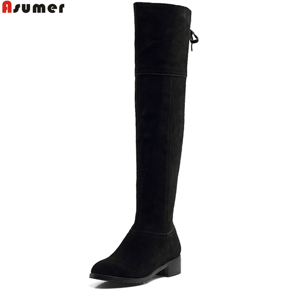 Asumer black fashion women boots round toe ladies cow suede boots square heel cross tied zipper sexy over the knee boots morazora autumn winter new arrive women boots pointed toe zipper flock ladies boots square heel cross tied over the knee boots