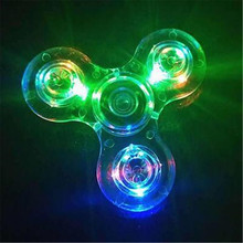 2017 Hot sell toy Crystal LED Hand Spinner Tri Fidget Tri-Spinner EDC Focus Kids ADHD Toy Finger Gyro