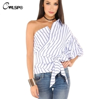 CWLSP Latest Summer Striped Blouse Shirt Women One Shoulder Puff Sleeve Tops With Sashes 2017 Blusas