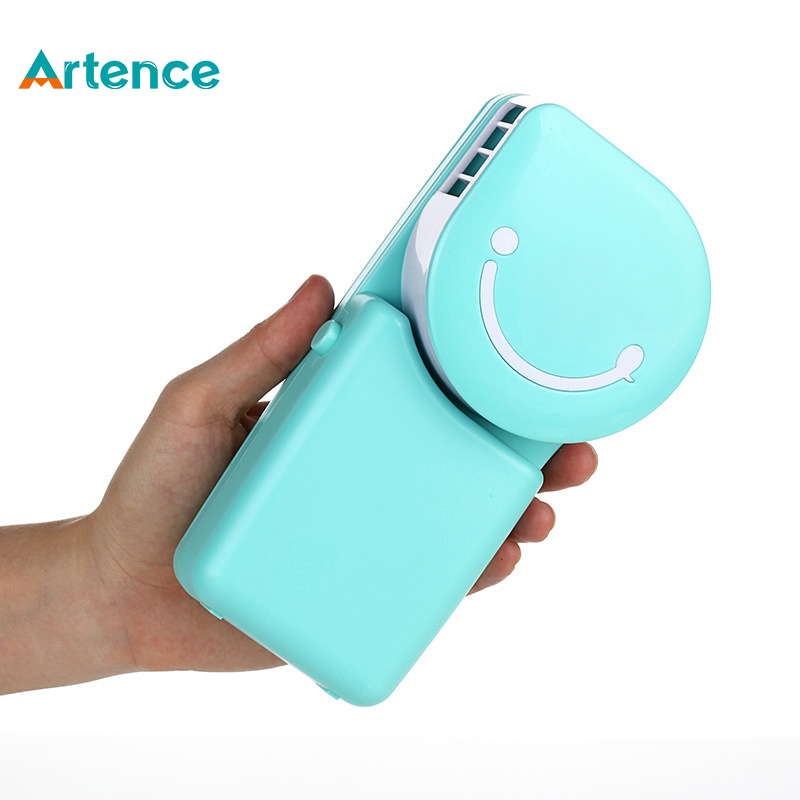 Portable Mini Air Conditioner Fan Smile Face USB Rechargeable Cooling Fan With Lithium Battery Outdoor Travelling Handheld Fan mirror fan usb air cooling fan 1200mah battery rechargeable fan portable desk mini dc fan for home office outdoor