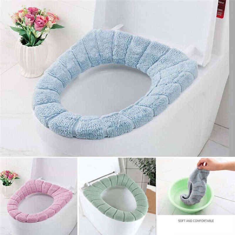 Cushioned Toilet Seat Cover Pads Bathroom Soft Stretchable Washable Covers Bathroom Bath Mat Floor Rug Carpet Jan15