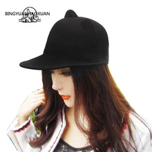 BINGYUANHAOXUAN Womens Fedora Hat Casual Warm Cartoon Imitation Wool 57 cm Adjustable 2017 New