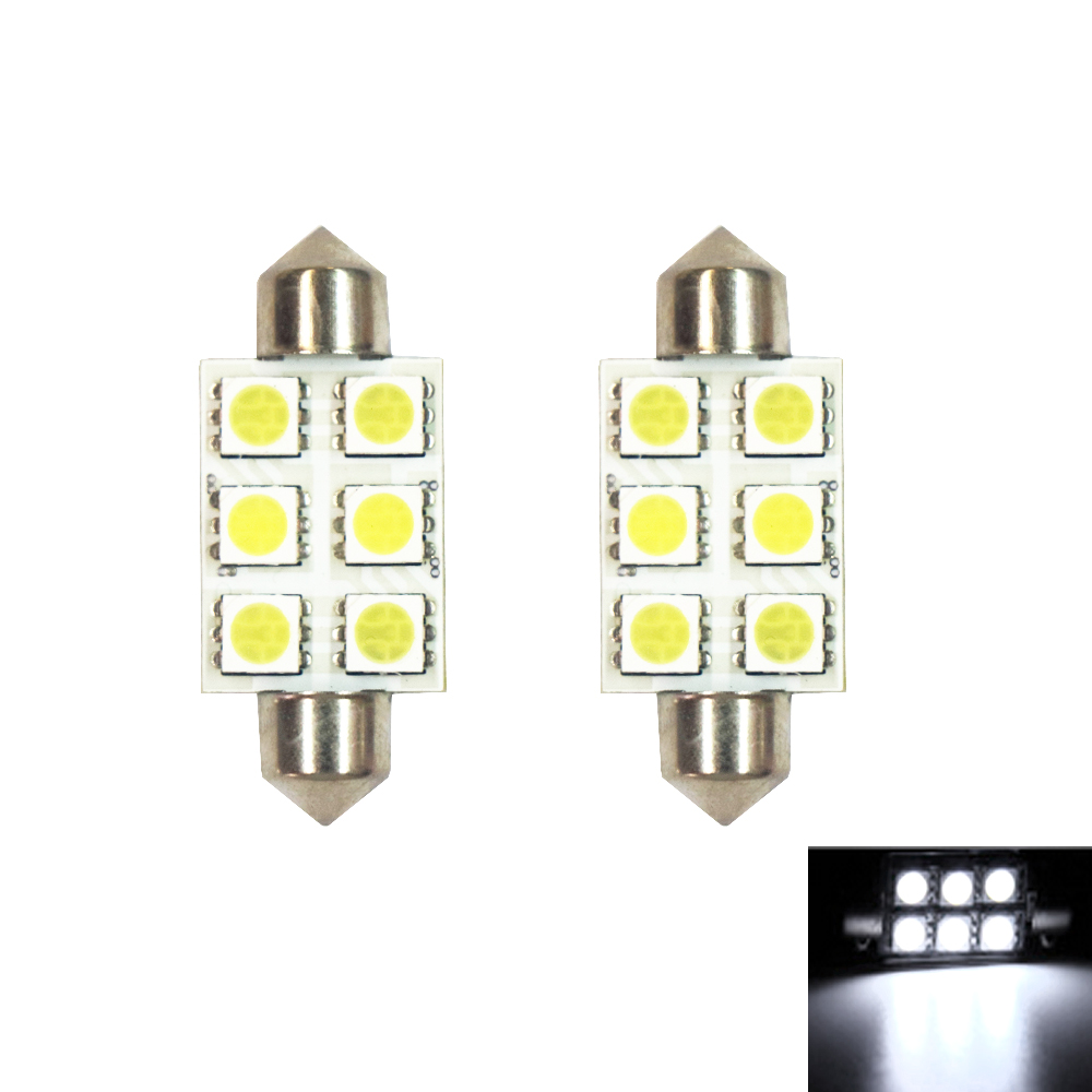 Image 2 - 10pcs Festoon 39mm LED 5050 Auto Lamp Bulb 3W 6 SMD 6000k 200lm White Light Car Reading 5050 / Indicator/Roof Lamp (DC/12V)-in Signal Lamp from Automobiles & Motorcycles