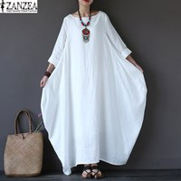 ZANZEA 2017 Women Oversized Round Neck Casual Loose Maxi Long Shirt Dress Vintage Female 3 4
