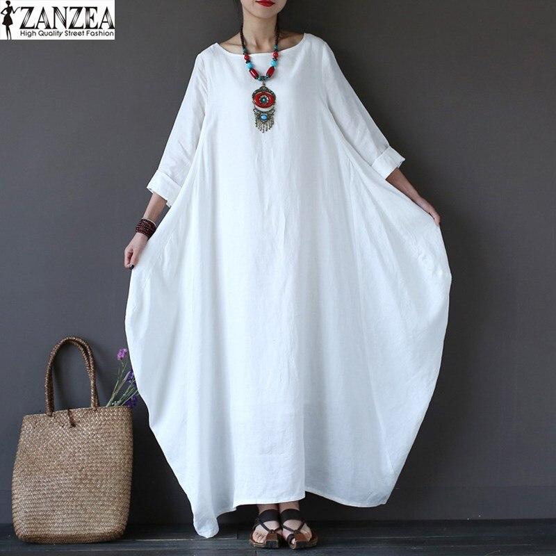 ZANZEA 2018 Women Oversized Round Neck Casual Loose Maxi Long Shirt Dress Vintage Female 3/4 Sleeve Kaftan Robe Vestido