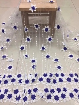 New African French Lace Fabric High Quality African Tulle Lace Fabric For Wedding Beaded Embroidered Tulle Lace